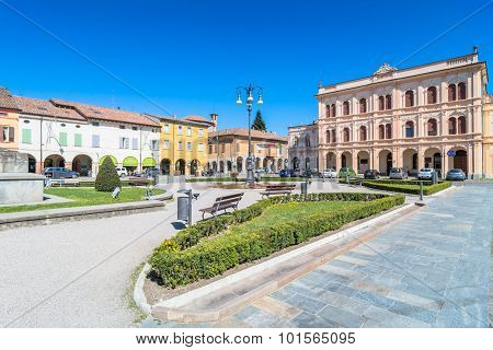 Main Square In Novellara, Italy