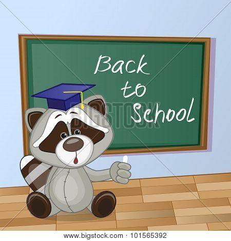 Cartoon Raccoon Wrote In Classroom