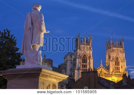 William Etty Statue And York Minster At Dusk