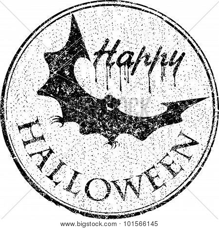 Grunge Style Stamped With A Smiling Bat And Caption Happy Halloween