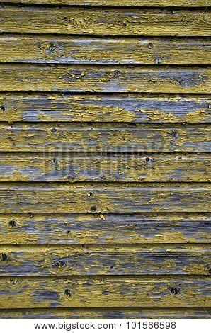 Yellow Paint Peeling Of Wood Wall Background