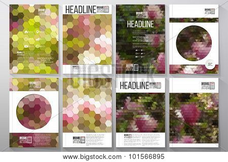 Business vector templates for brochure, flyer or booklet. Purple flowers. Collection of abstract mul