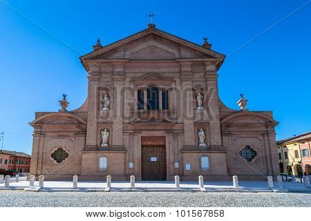 Church And Main Square In Novellara, Italy