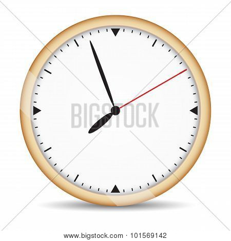 Round clock with brown frame and red second hand