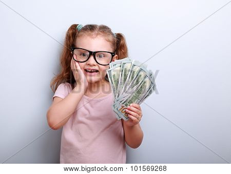 Excited Kid Girl Earring Money And Thinking How Spend Its