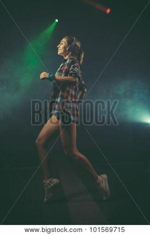 Dynamic animated woman dancing in club