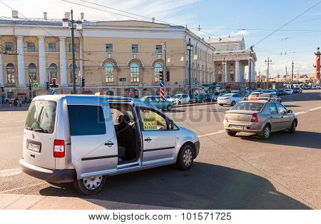 Vacant Taxi On Vasilevsky Island In The Historic Center Of The St. Petersburg, Russia