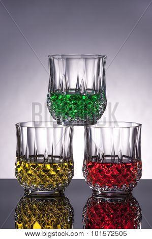 Red, Yellow, And Green Drinks.