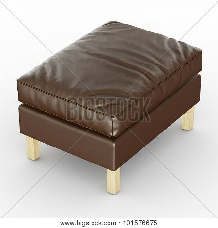 Pouf leather brown