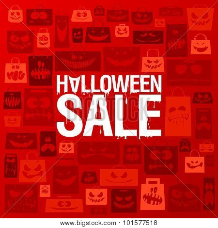 Halloween sale banner against scary paper bags background.