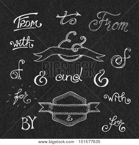 Collection of handwritten catchwords and ampersands. Vector illustration