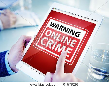 Hands Holding Digital Tablet Cyber Crime