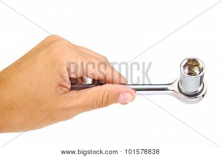 Hand holding single ratchet isolated on a white background