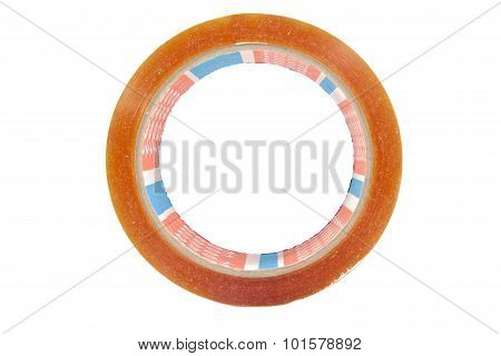 Side view roll of adhesive tape isolated on a white background