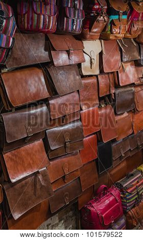 The Traditional Bag Of Morocco Made From Leather