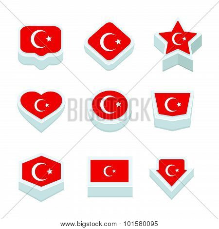 Tunisia Flags Icons And Button Set Nine Styles