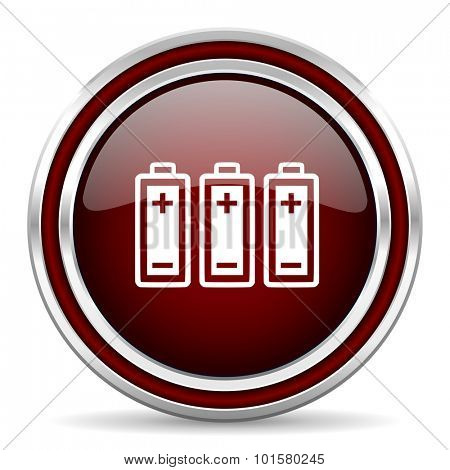 battery red glossy web icon