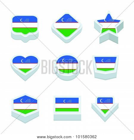 Uzbekistan Flags Icons And Button Set Nine Styles