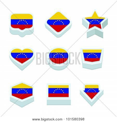 Venezuela Flags Icons And Button Set Nine Styles