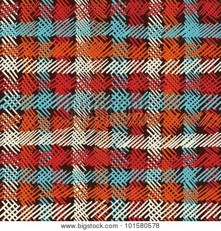 Boho Seamless Pattern Vintage Checkered Background
