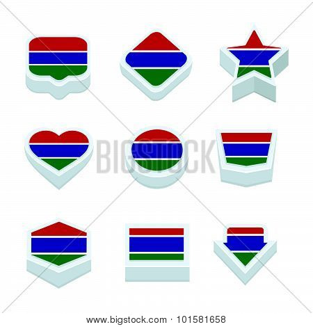 Gambia Flags Icons And Button Set Nine Styles
