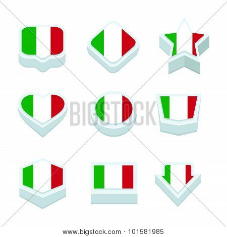 Italy Flags Icons And Button Set Nine Styles