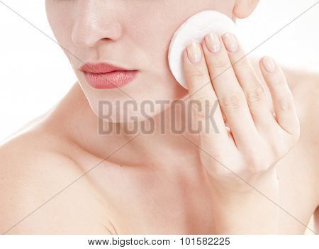 Sensual Young Woman With Cotton Swab