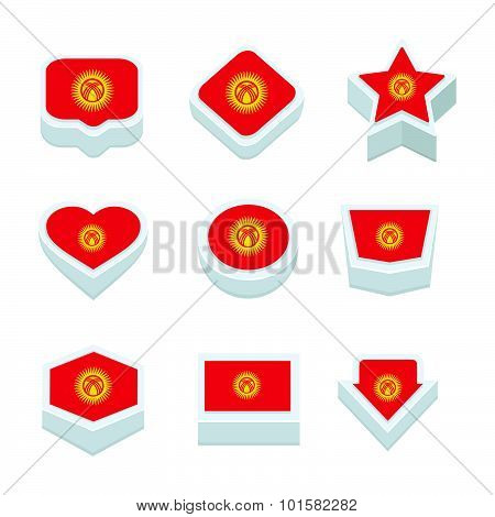 Kyrgyzstan Flags Icons And Button Set Nine Styles