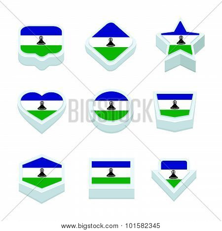 Lesotho Flags Icons And Button Set Nine Styles