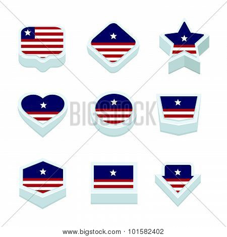 Liberia Flags Icons And Button Set Nine Styles