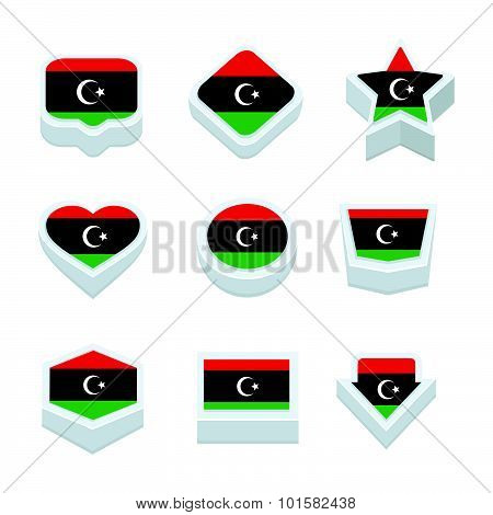 Libya Flags Icons And Button Set Nine Styles