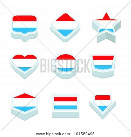 Luxembourg Flags Icons And Button Set Nine Styles
