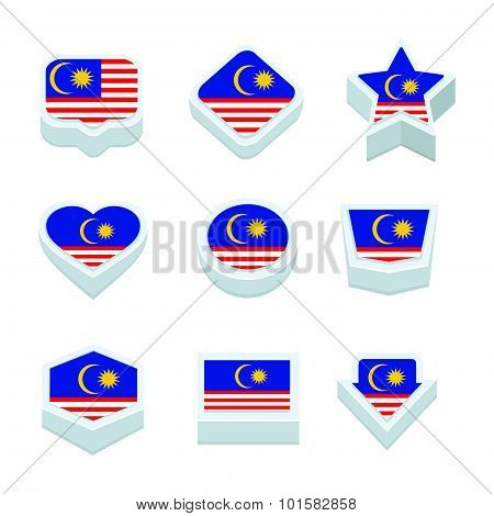 Malaysia Flags Icons And Button Set Nine Styles