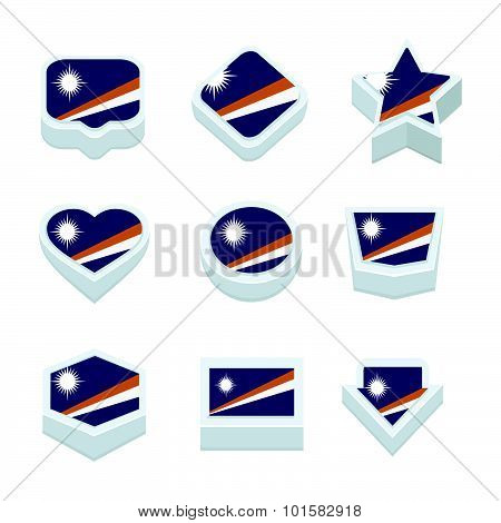 Marshall Islands Flags Icons And Button Set Nine Styles