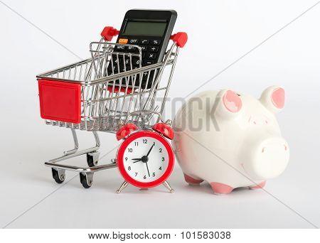 Shopping cart with piggy bank