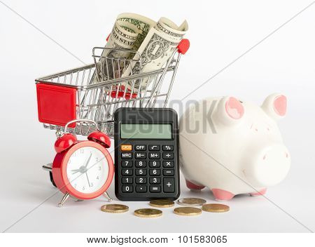 Shopping cart with dollars