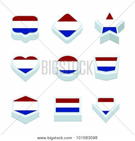 Netherlands Flags Icons And Button Set Nine Styles