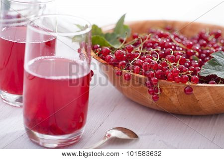 Healthy Red Currants In A Bowl With Extras