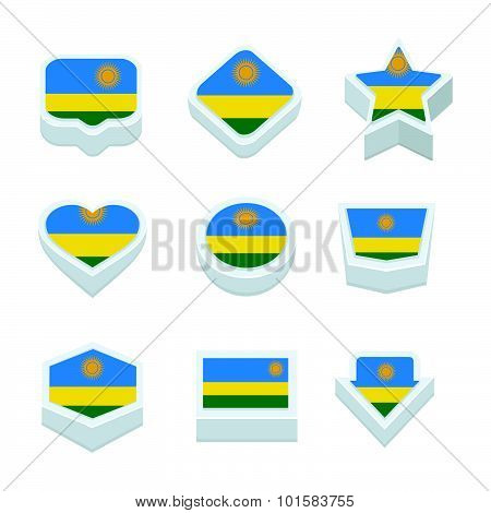 Rwanda Flags Icons And Button Set Nine Styles