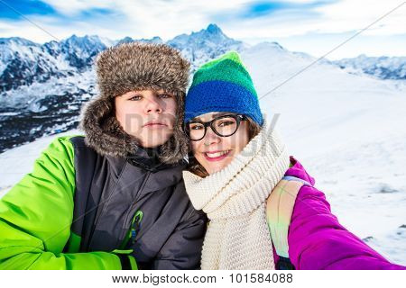 Winter vacation - teens in mountains