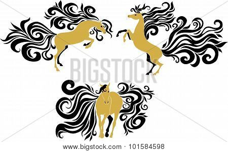 Horses With Beautiful Mane And Tail.eps