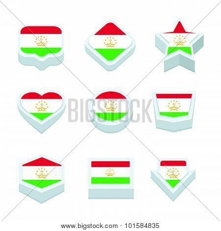Tajikistan Flags Icons And Button Set Nine Styles