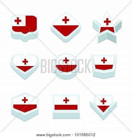 Tonga Flags Icons And Button Set Nine Styles