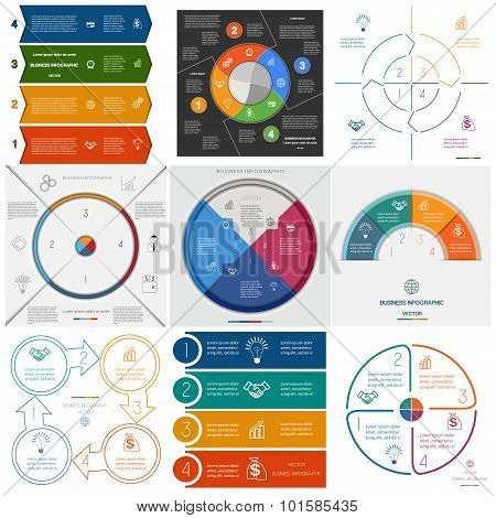 Set 9 Templates Infographics Cyclic Processes On Four Positions
