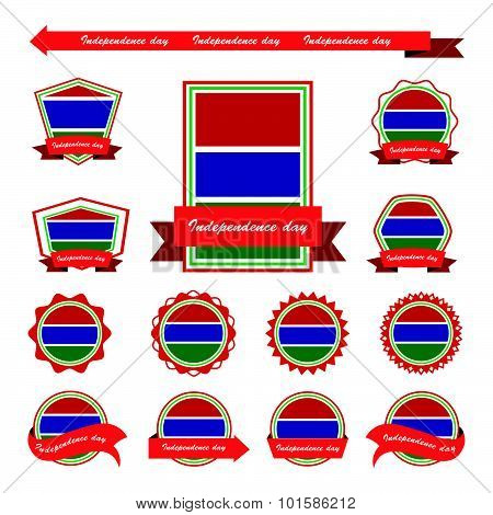 Gambia  Independence Day Flags Infographic Design