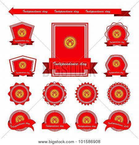 Kyrgyzstan Independence Day Flags Infographic Design