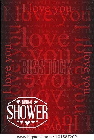 Bridal Shower I Love You Background Sign