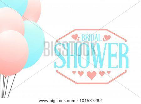 Bridal Shower Balloons Sign Illustration Design
