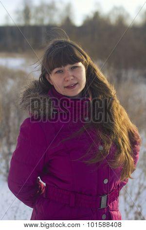 Beautiful Girl In Winter In Fuchsia  Park