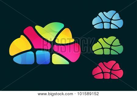 Abstract net cloud vector logo. Business cloud brand, cloud storage, files safety, sky cloud icon, clouds technology, brain, app, web design studio.Cloud network. Antivirus cloud logo.Clouds computer
